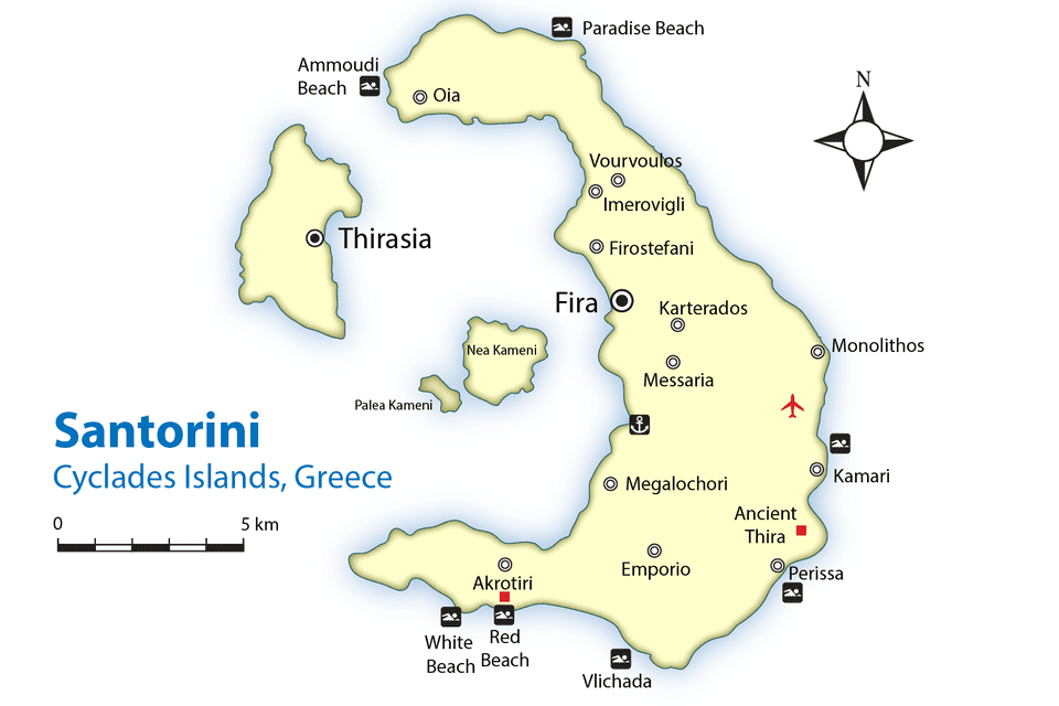 Santorini beaches Map