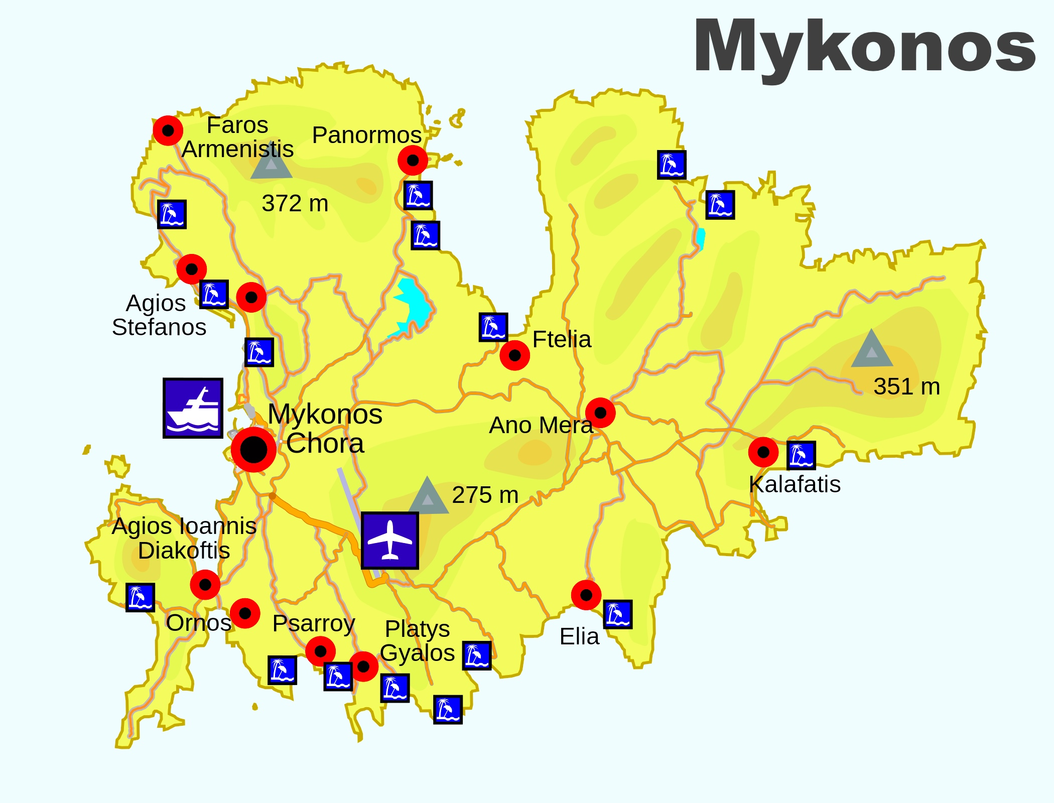 Map of Mykonos Beaches