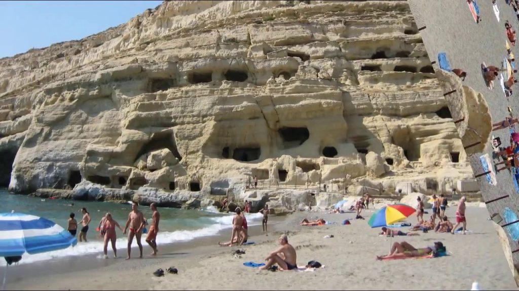 matala beach crete greece